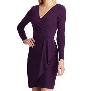 NWT CHAPS Size Large Purple Long Sleeve Dress